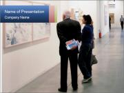 People walk trough painting galleries PowerPoint Templates
