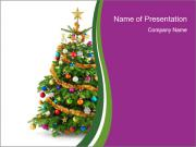 Christmas tree with colorful ornaments PowerPoint Templates