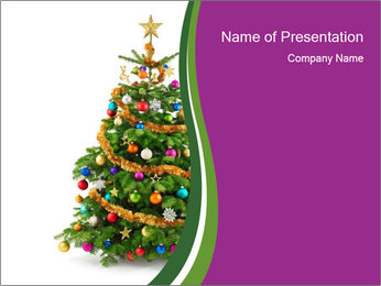 Christmas tree with colorful ornaments PowerPoint Template - Slide 1