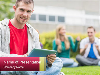 Smiling college boy PowerPoint Template - Slide 1