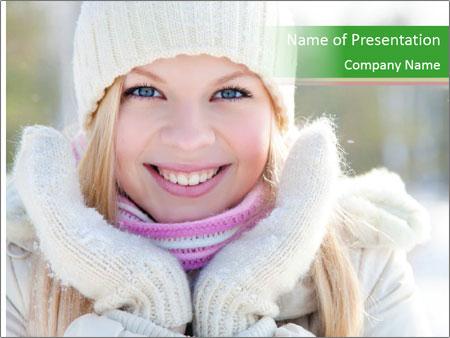 Woman in winter PowerPoint Template
