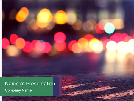 Night lights in city PowerPoint Templates