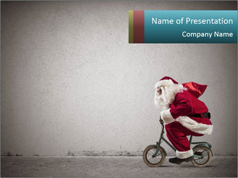 Fast Santa PowerPoint Template - Slide 1