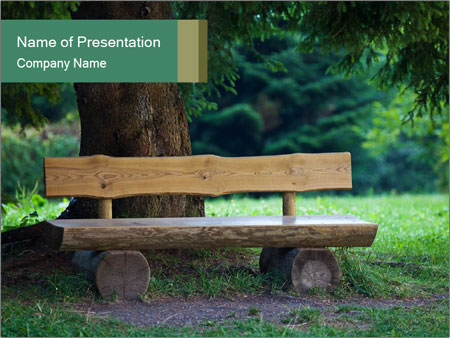 Park bench under tree PowerPoint Templates