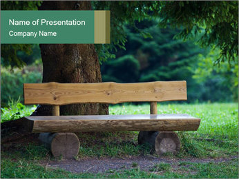 Park bench under tree PowerPoint Template