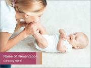 Little baby with mum PowerPoint Template