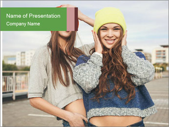 Two young hipster girl PowerPoint Template - Slide 1