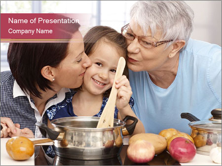 Mother, grandmother and little daughter PowerPoint Templates