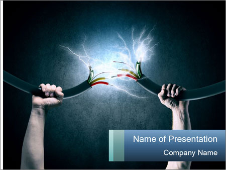 Human hand holding cable PowerPoint Template