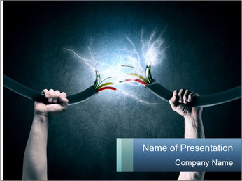 Human hand holding cable PowerPoint Template - Slide 1