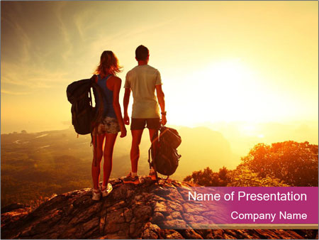 Hikers with backpacks PowerPoint Template