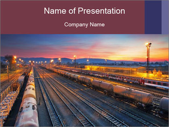 Station at dusk PowerPoint Template - Slide 1