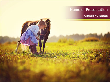 A cute girl in jockey boots PowerPoint Template