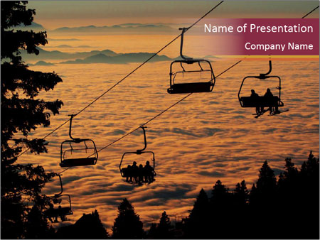 Ski lift chairs PowerPoint Templates