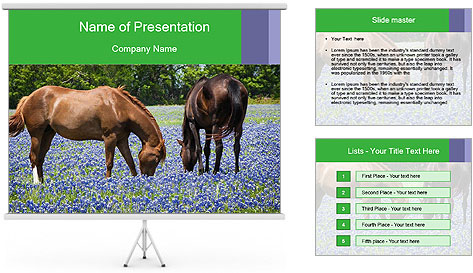Two horses PowerPoint Template