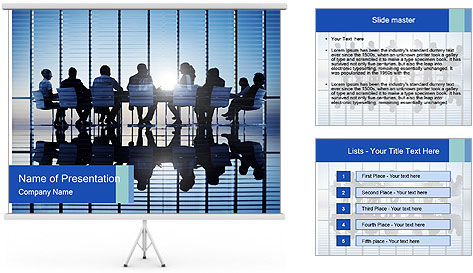 Silhouettes of business PowerPoint Template