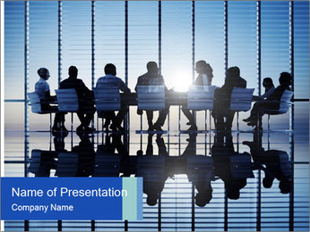 Silhouettes of business PowerPoint Template - Slide 1