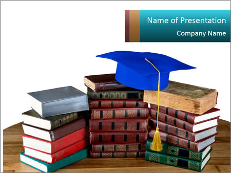 Stack of books PowerPoint Template