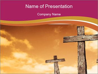 Crosses on a hill PowerPoint Template - Slide 1
