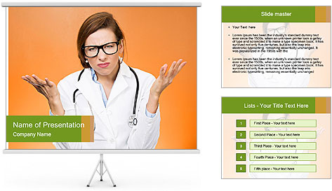 The doctor on an orange background PowerPoint Template