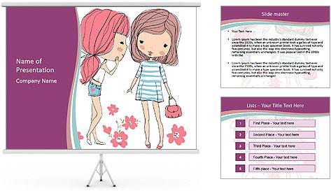 Cute girls PowerPoint Template
