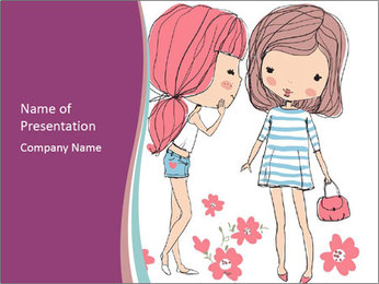 Cute girls PowerPoint Template