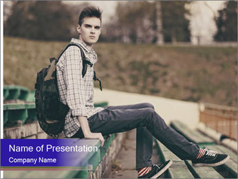 Handsome hipster PowerPoint Template