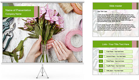 Florist at work PowerPoint Template