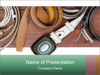 Isolate leather belts on wooden plank PowerPoint Template