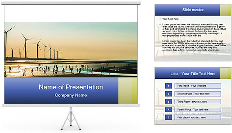 Sillouette of Wind PowerPoint Template