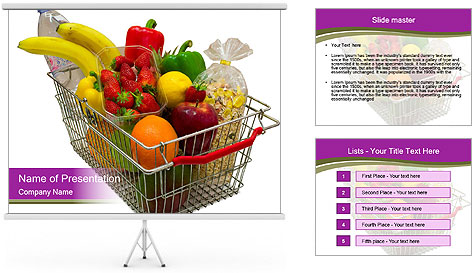 A shopping basket full PowerPoint Template