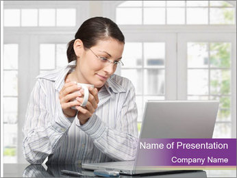 Woman looks at her laptop PowerPoint Templates - Slide 1