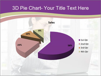Woman looks at her laptop PowerPoint Templates - Slide 35