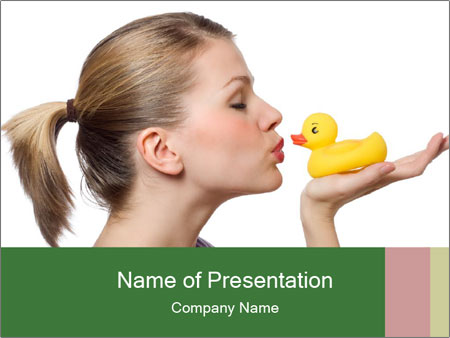 Woman kissing the yellow duck PowerPoint Templates