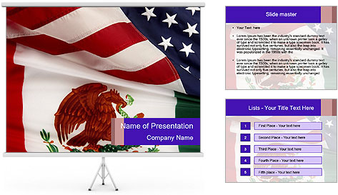 Mexican and American flags PowerPoint Template