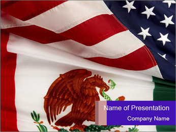 Mexican and American flags PowerPoint Template - Slide 1