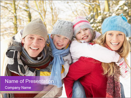 Family Having Fun Snowy PowerPoint Template