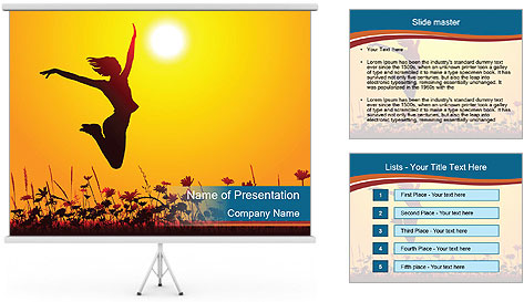Silhouette of a young girl jumping PowerPoint Template