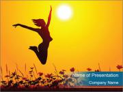 Silhouette of a young girl jumping PowerPoint Templates