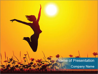 Silhouette of a young girl jumping PowerPoint Template - Slide 1