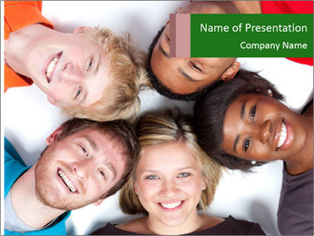 Multi-racial college students PowerPoint Template
