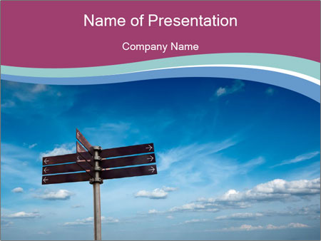 Blank signpost in sky PowerPoint Templates