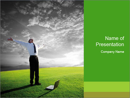 Happy young businessman PowerPoint Template