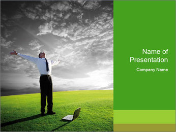 Happy young businessman PowerPoint Template - Slide 1