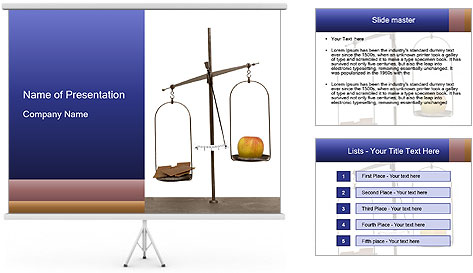 Old scales with apple PowerPoint Template
