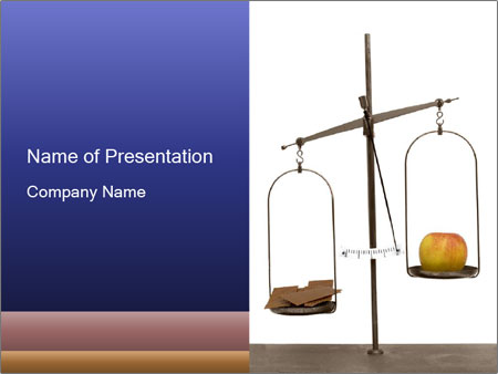 Old scales with apple PowerPoint Templates