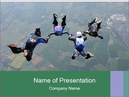 Four skydivers PowerPoint Templates