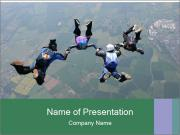 Four skydivers PowerPoint Template