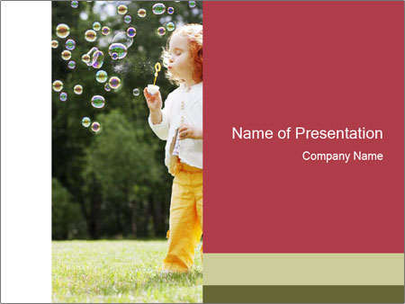 Girl puts the bubbles PowerPoint Template