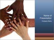Multiracial hands PowerPoint Template
